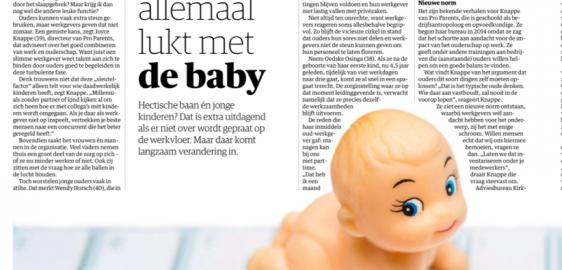 Pro Parents in NRC 'Baas; vraag eens of het allemaal lukt met de baby'
